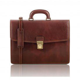 イタリア製ベジタブルタンニンレザーのビジネスバッグ AMALFI、ブラウン