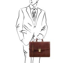 イタリア製ベジタブルタンニンレザーのビジネスバッグ AMALFI、ブラウン、詳細