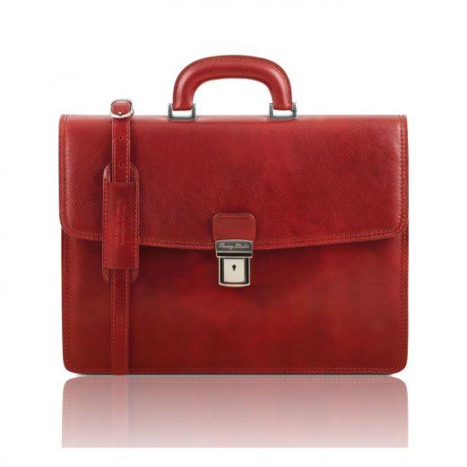 イタリア製ベジタブルタンニンレザーのビジネスバッグ AMALFI、レッド