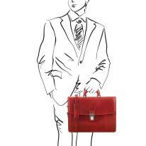 イタリア製ベジタブルタンニンレザーのビジネスバッグ AMALFI、レッド、詳細
