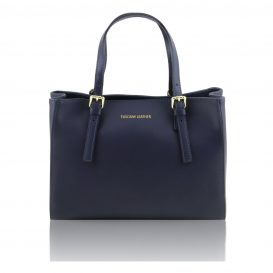 イタリア製AURA ルーガ・カーフレザーの2WAYハンドバッグ、ダークブルー、ネイビー、紺