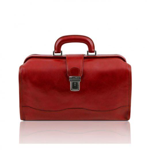 イタリア製ベジタブルタンニンレザーのバッグ RAFFAELLO、レッド