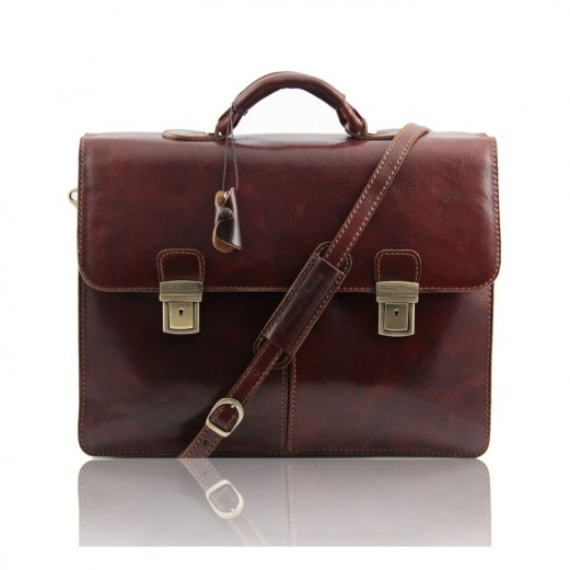 イタリア製BOLGHERI ベジタブルタンニンレザーのビジネスバッグ、ブラウン、茶色