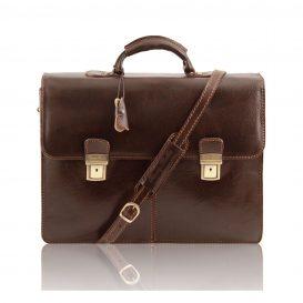 イタリア製BOLGHERI ベジタブルタンニンレザーのビジネスバッグ、ダークブラウン、こげ茶色
