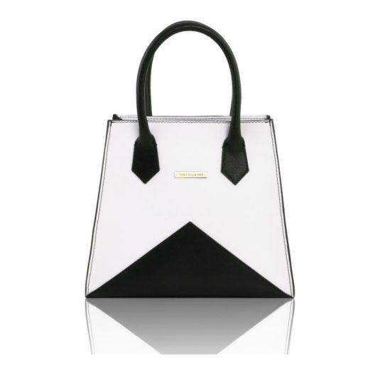 AFRODITE ルーガ&サフィアーノレザーのバイカラー2wayハンドバッグ