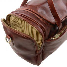 イタリア製ベジタブルタンニンレザーのサイドポケットつきボストンバッグ(最少)TL VOYAGER