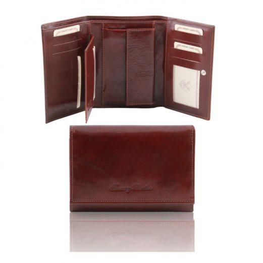 イタリア製本牛革カーフレザーのIDケースつき三つ折りレディース財布、ブラウン