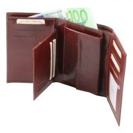 イタリア製本牛革カーフレザーのIDケースつき三つ折りレディース財布