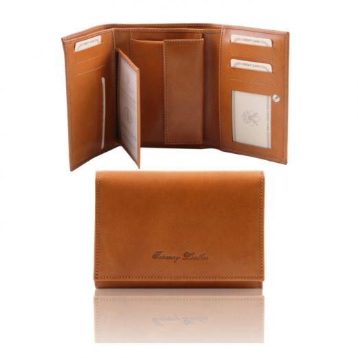 イタリア製本牛革カーフレザーのIDケースつき三つ折りレディース財布、ハニー