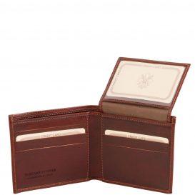 イタリア製フルグレインレザーのIDケースつき小銭入れ無しメンズ財布、ブラウン、茶色、詳細2