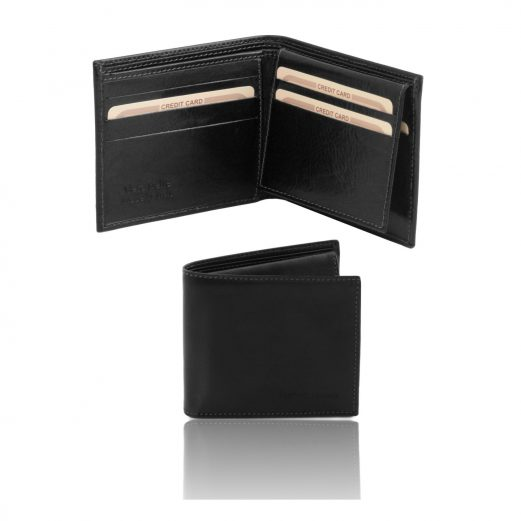 イタリア製フルグレインレザーのIDケースつき小銭入れ無しメンズ財布、ブラック