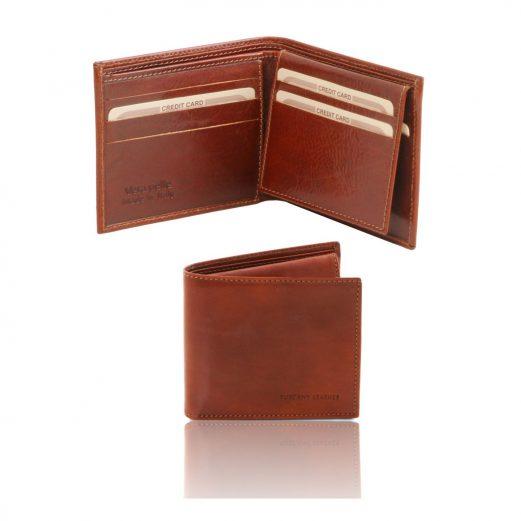 イタリア製ベジタブルタンニンレザーのIDケースつき小銭入れ無しメンズ財布、ブラウン