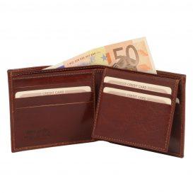 イタリア製フルグレインレザーのIDケースつき小銭入れ無しメンズ財布、ブラウン、茶色、詳細1