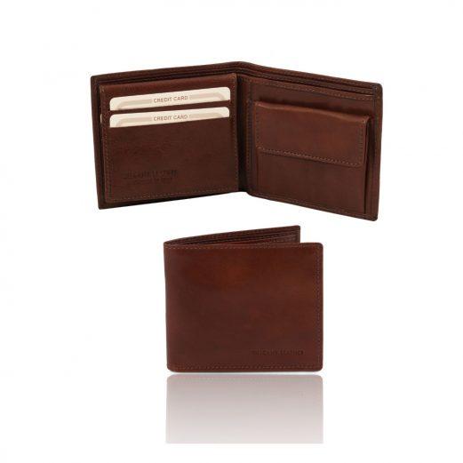 イタリア製フルグレインレザーの小銭入れ&IDケースつきメンズ財布、ブラウン