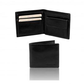 イタリア製フルグレインレザーの小銭入れ&IDケースつきメンズ財布、ブラック
