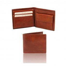イタリア製フルグレインレザーの小銭入れ&IDケースつきメンズ財布ブラウン