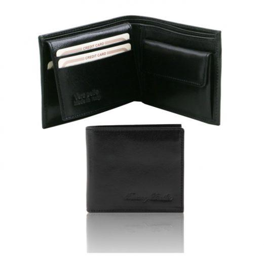 イタリア製本牛革カーフレザーの小銭入れ&IDケースつきメンズ財布、ブラック、黒