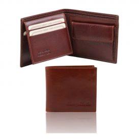 イタリア製本牛革カーフレザーの小銭入れ&IDケースつきメンズ財布、ブラウン