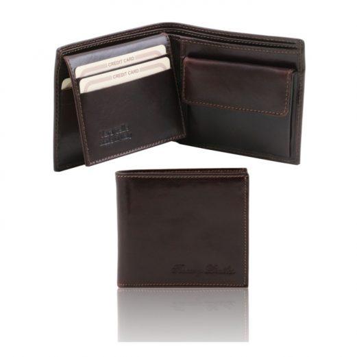 イタリア製本牛革カーフレザーの小銭入れ&IDケースつきメンズ財布、ダークブラウン