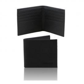 イタリア製本牛革カーフ・サフィアーノレザーのメンズ財布、ブラック、黒