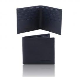 イタリア製本牛革カーフ・サフィアーノレザーのメンズ財布、ブルー