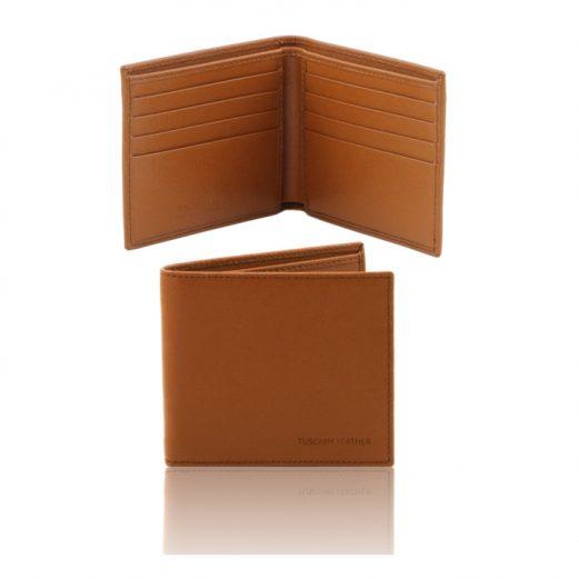 イタリア製本牛革カーフ・サフィアーノレザーのメンズ財布、コニャック