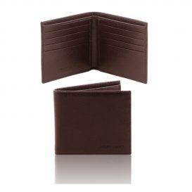 イタリア製本牛革カーフ・サフィアーノレザーのメンズ財布、ダークブラウン