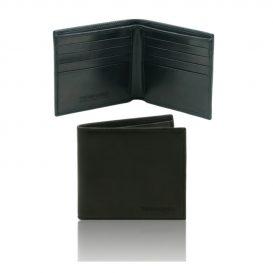 イタリア製本牛革カーフレザーのメンズ財布、ブラック、黒