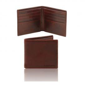 イタリア製本牛革カーフレザーのメンズ財布、ブラウン