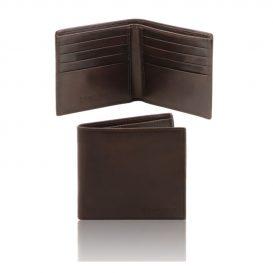 イタリア製本牛革カーフレザーのメンズ財布、ダークブラウン