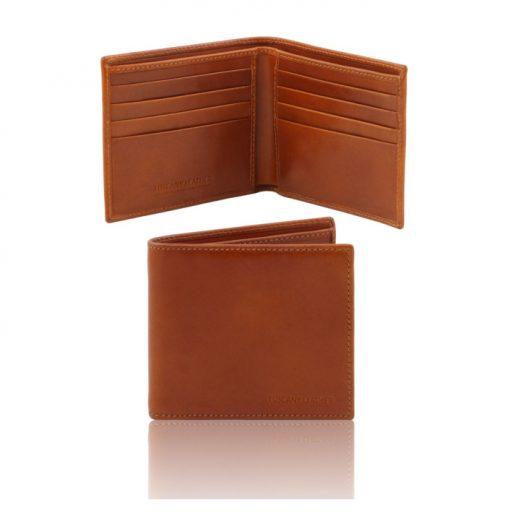 イタリア製本牛革カーフレザーのメンズ財布、ハニー