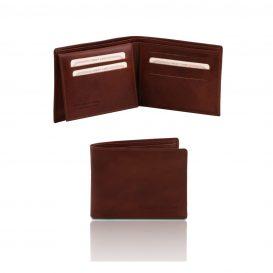イタリア製フルグレインレザーの紙幣&カード入れ、IDケースつきメンズ財布、ブラウン