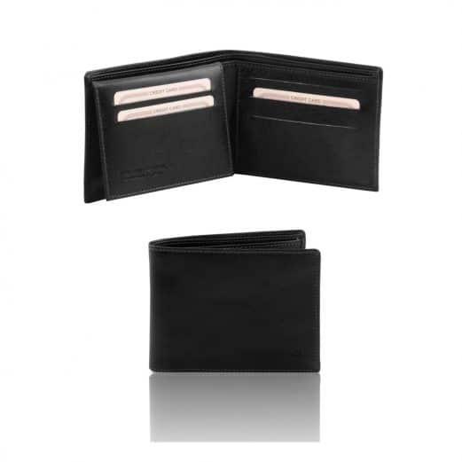 イタリア製フルグレインレザーの紙幣&カード入れ、IDケースつきメンズ財布、ブラック
