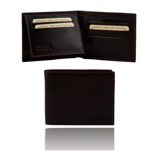 イタリア製本牛革カーフレザーの紙幣&カード入れ、IDケースつきメンズ財布、ダークブラウン