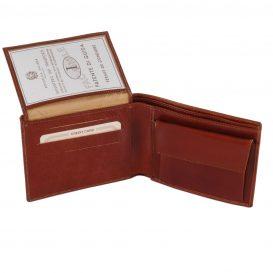 イタリア製フルグレインレザーのIDケース&小銭入れつきメンズ財布、詳細1