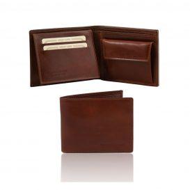 イタリア製フルグレインレザーのIDケース&小銭入れつきメンズ財布、ブラウン