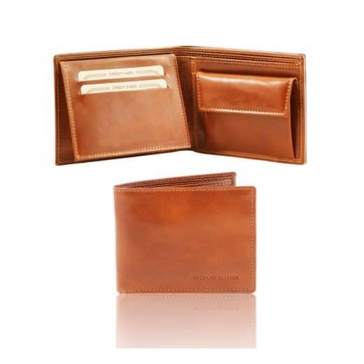 イタリア製カーフレザーのIDケース&小銭入れつきメンズ財布、ハニー