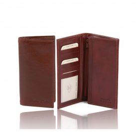 イタリア製ベジタブルタンニンレザーの小銭入れつきメンズ長財布、ブラウン