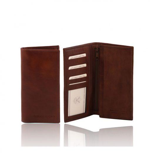 イタリア製フルグレインレザーの小銭入れつきメンズ長財布、ブラウン