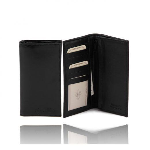 イタリア製ベジタブルタンニンレザーの小銭入れつきメンズ長財布、ブラック、黒