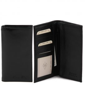 イタリア製ベジタブルタンニンレザーの小銭入れつきメンズ長財布、ブラック、黒、詳細