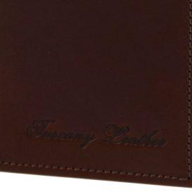 イタリア製ベジタブルタンニンレザーの小銭入れつきメンズ長財布、ロゴ詳細