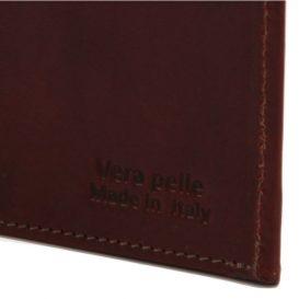 イタリア製ベジタブルタンニンレザーの小銭入れつきメンズ長財布、ロゴ詳細2