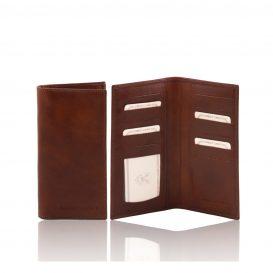 イタリア製フルグレインレザーのカード&紙幣入れメンズ長財布、ブラウン