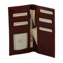 イタリア製フルグレインレザーのカード&紙幣入れメンズ長財布、詳細2