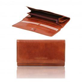 イタリア製カーフレザーの長財布、ブラウン
