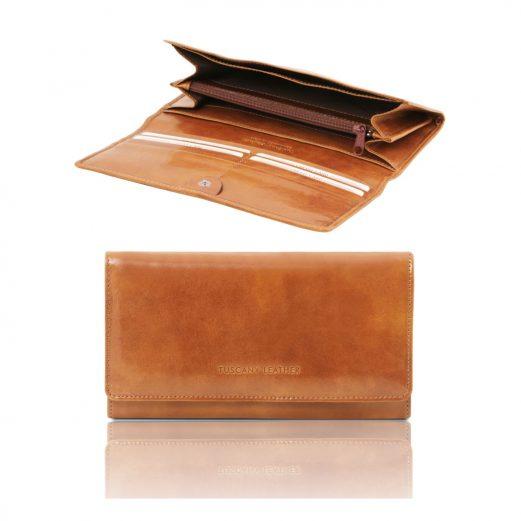 イタリア製フルグレインレザーの長財布、ハニー