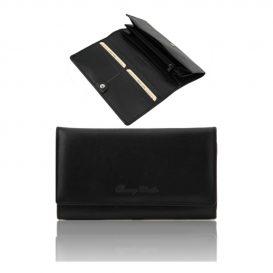 イタリア製本牛革カーフレザーのレディース三つ折り長財布、ブラック、黒