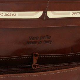 イタリア製本牛革カーフレザーのレディース三つ折り長財布