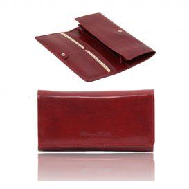 Esclusivo Portafogli in Pelle da Donna con Soffietti Rosso